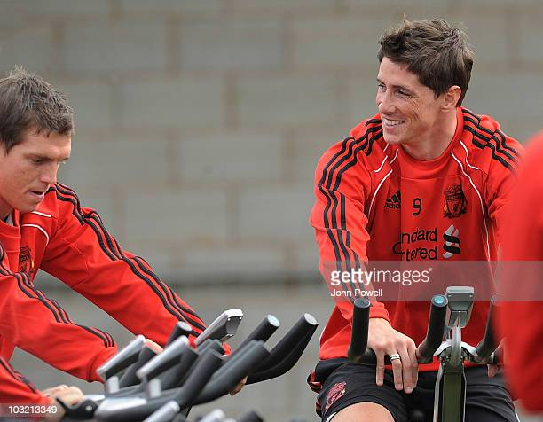 Fernando Torres and Daniel Agger of Liverpool during a training session at Melwood training ground on August 3 2010 in Liverpool England