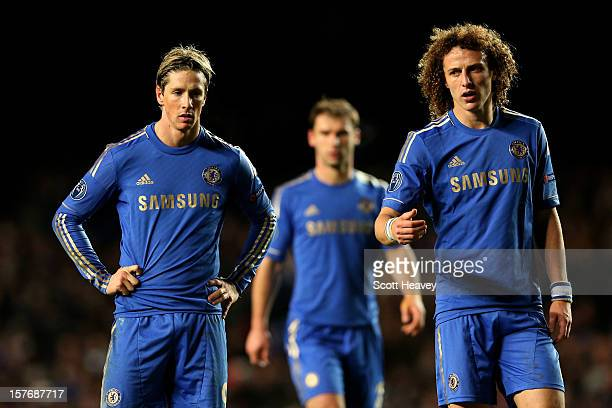 Fernando Torres and David Luiz of Chelsea look on during the UEFA Champions League group E match between Chelsea and FC Nordsjaelland at Stamford...