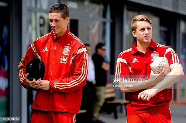 Fernando Torres and Gerard Deulofeu of Spain arrive for a press conference at Ciudad del Futbol on May 27 2014 in Las Rozas de Madrid Spain