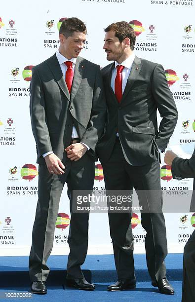 Fernando Torres and Iker Casillas attend the opening of the Spanish Football Federation Museum on May 24 2010 in Madrid Spain