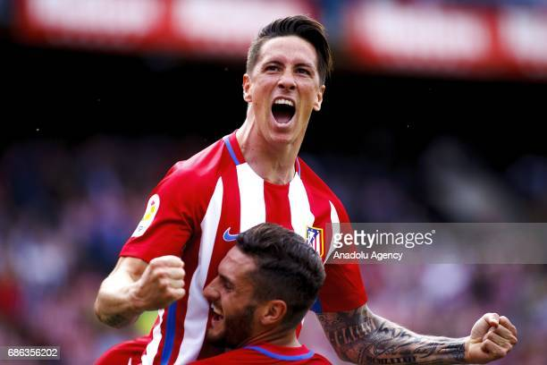Fernando Torres and Koke Resurreccion of Atletico de Madrid celebrate after scoring during the La Liga match between Atletico de Madrid and Athletic...
