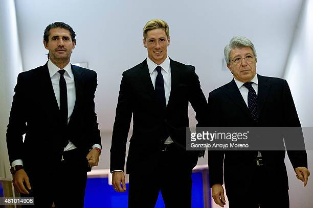 Fernando Torres arrives at a press conference with president Enrique Cerezo and sport manager Jose Luis Perez Caminero during his presentation as new...