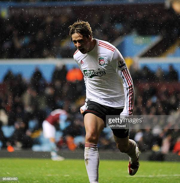 Fernando Torres celebrates after scoring a goal against Aston Villa during the Barclays Premier League match between Aston Villa and Liverpool at...