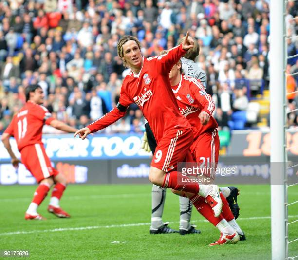 Fernando Torres celebrates his goal during the Barclays Premier League match between Bolton Wanderers and Liverpool at Reebok Stadium on August 29...