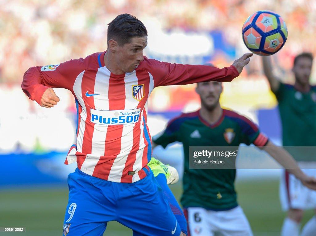 Fernando Torres during the match between Atletico Madrid v Osasuna as part of La Liga 2017 at Vicente Calderon Stadium on April 15, 2017 in Madrid, Spain.