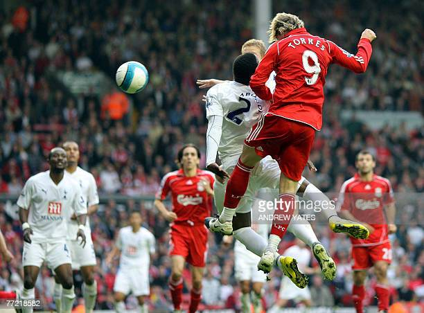 Fernando Torres heads the second goal for Liverpool during the Premier league football match against Tottenham Hotspur at Anfield in Liverpool...
