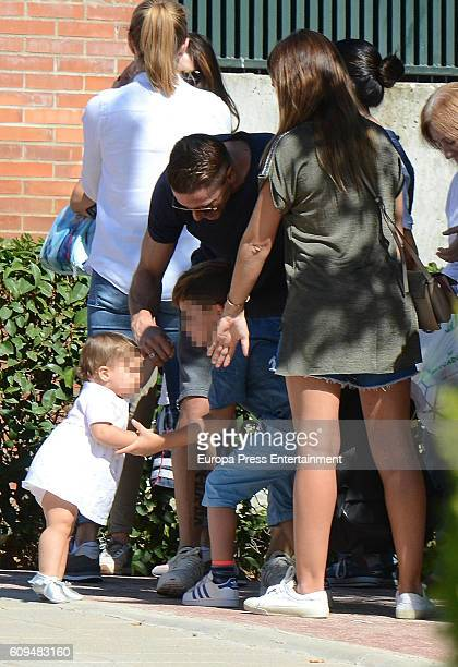 Fernando Torres his wife Olalla Dominguez and his daugther Elsa Torres are seen on September 20 2016 in Madrid Spain