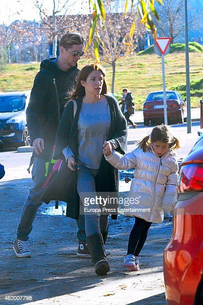Fernando Torres, his wife Olalla Dominguez and kid Nora Torres are seen on January 19, 2015 in Madrid, Spain.