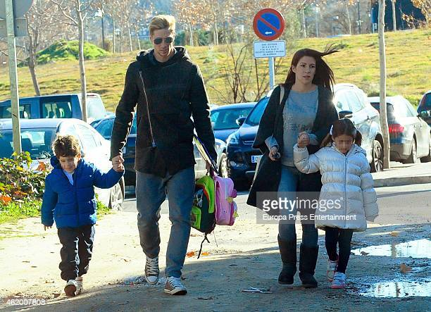 Fernando Torres, his wife Olalla Dominguez and kids Leo Torres and Nora Torres are seen on January 19, 2015 in Madrid, Spain.