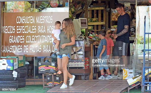 Fernando Torres his wife Olalla Dominguez and their daugthers Elsa Torres Nora Torres and son Leo Torres are seen on September 20 2016 in Madrid Spain