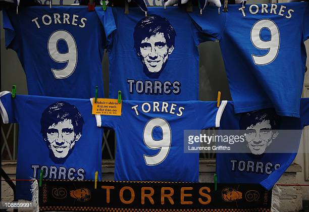 Fernando Torres merchandise on sale prior to the Barclays Premier League match between Chelsea and Liverpool at Stamford Bridge on February 6 2011 in...