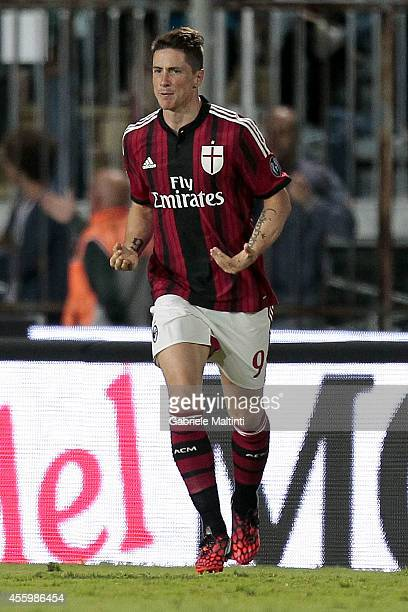 Fernando Torres of AC Milan celebrates after scoring a goal during the Serie A match between Empoli FC and AC Milan at Stadio Carlo Castellani on...