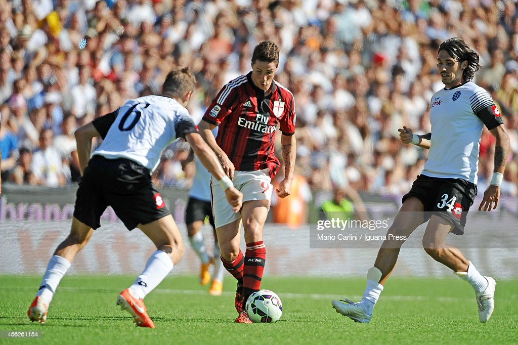 Fernando Torres # 9 of AC Milan in action during the Serie A match between AC Cesena and AC Milan at Dino Manuzzi Stadium on September 28, 2014 in Cesena, Italy.