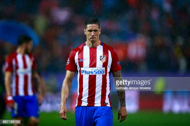 Fernando Torres of Atletico de Madrid bites his lips after the UEFA Champions League Semi Final second leg match between Club Atletico de Madrid and...