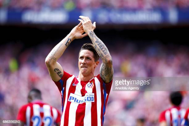 Fernando Torres of Atletico de Madrid celebrates after scoring during the La Liga match between Atletico de Madrid and Athletic de Bilbao at Vicente...