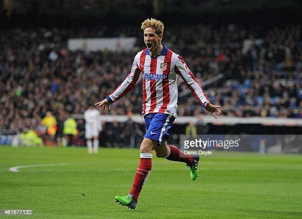 Fernando Torres of Atletico de Madrid celebrates after scoring Atletico's opening goal during the Copa del Rey Round of 16 Second leg match between...