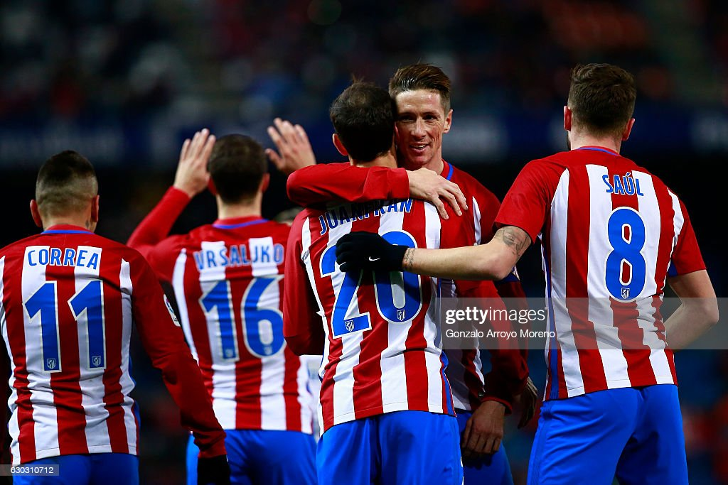 Fernando Torres Of Atletico De Madrid Celebrates His Teammate S Juan News Photo Getty Images