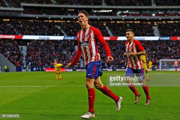 Fernando Torres of Atletico de Madrid celebrates scoring their second goal during the La Liga match between Club Atletico Madrid and UD Las Palmas at...