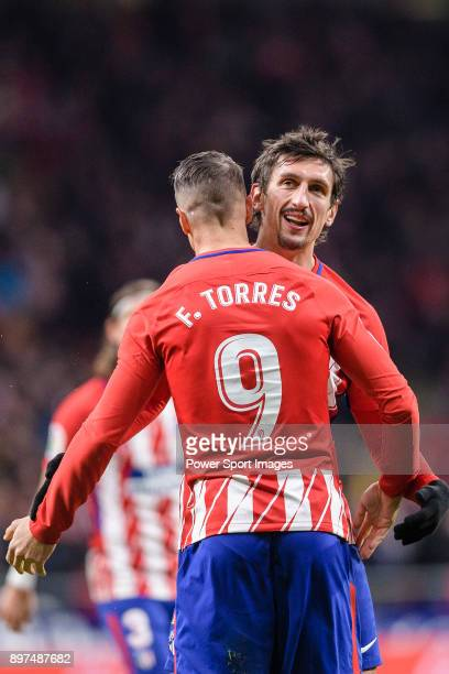 Fernando Torres of Atletico de Madrid celebrating his score with Stefan Savic of Atletico de Madrid during the La Liga 201718 match between Atletico...