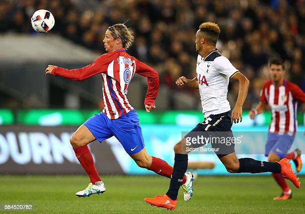 Fernando Torres of Atletico de Madrid competes for the ball during 2016 International Champions Cup Australia match between Tottenham Hotspur and...