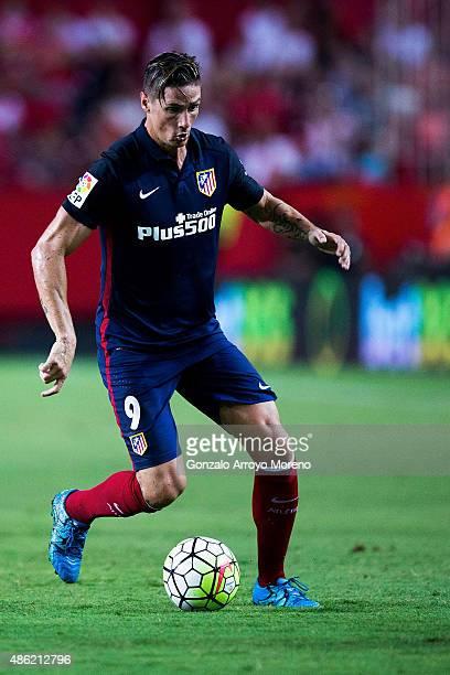 Fernando Torres of Atletico de Madrid controls the ball during the La Liga match between Sevilla FC and Club Atletico de Madrid at Estadio Ramon...