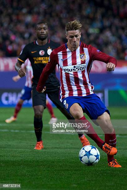 Fernando Torres of Atletico de Madrid controls the ball during the UEFA Champions League Group C match between Club Atletico de Madrid and...