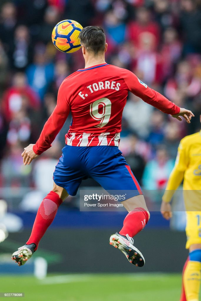 Fernando Torres of Atletico de Madrid heads the ball during the La Liga 2017-18 match between Atletico de Madrid and UD Las Palmas at Wanda Metropolitano on January 28 2018 in Madrid, Spain.