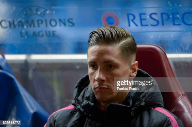 Fernando Torres of Atletico de Madrid looks on during the UEFA Champions League Round of 16 second leg match between Atletico Madrid and Bayer...