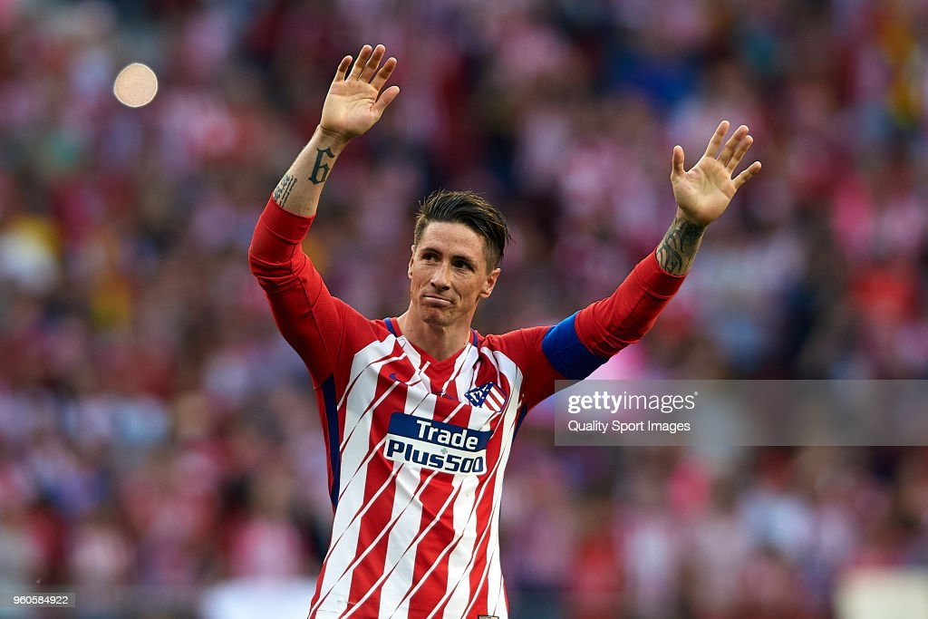 Fernando Torres of Atletico de Madrid reacts during his farewell ceremony after the La Liga match between Atletico Madrid and Eibar at Wanda Metropolitano on May 20, 2018 in Madrid, Spain.