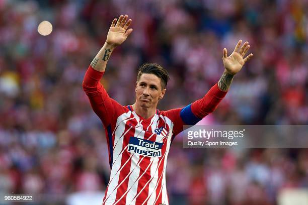 Fernando Torres of Atletico de Madrid reacts during his farewell ceremony after the La Liga match between Atletico Madrid and Eibar at Wanda...