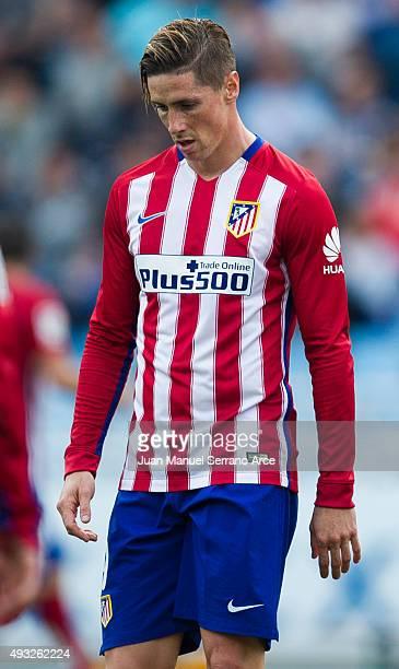 Fernando Torres of Atletico de Madrid reacts during the La Liga match between Real Sociedad de Futbol and Atletico de Madrid at Estadio Anoeta on...