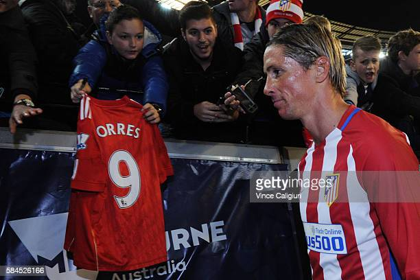 Fernando Torres of Atletico de Madrid walks off the ground after the 2016 International Champions Cup Australia match between Tottenham Hotspur and...