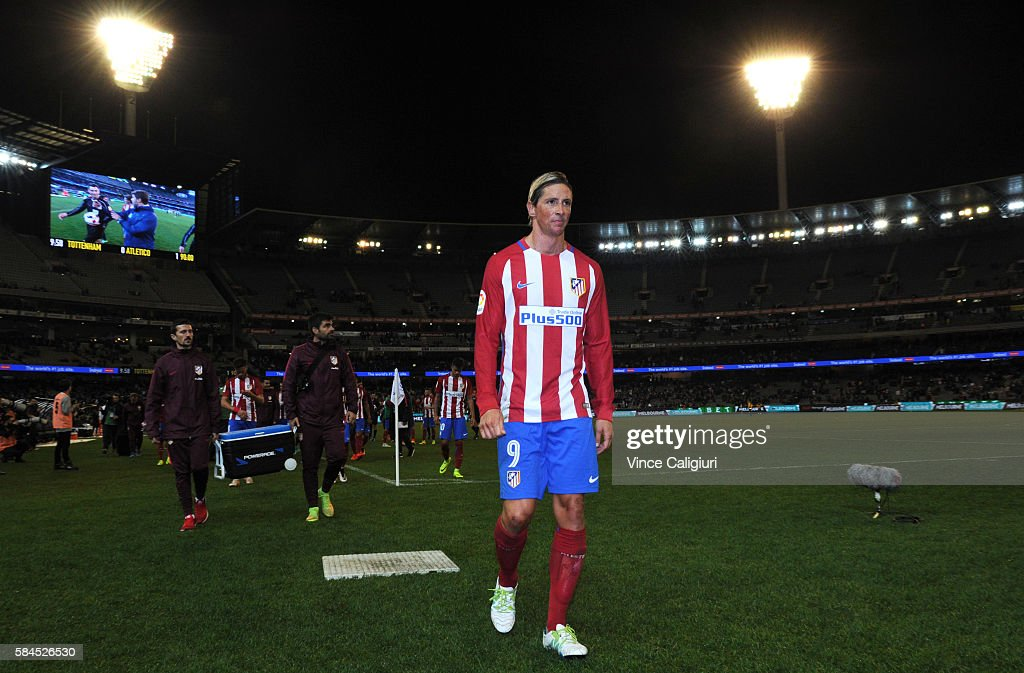 Fernando Torres of Atletico de Madrid walks off the ground after the 2016 International Champions Cup Australia match between Tottenham Hotspur and Atletico de Madrid at Melbourne Cricket Ground on July 29, 2016 in Melbourne, Australia.