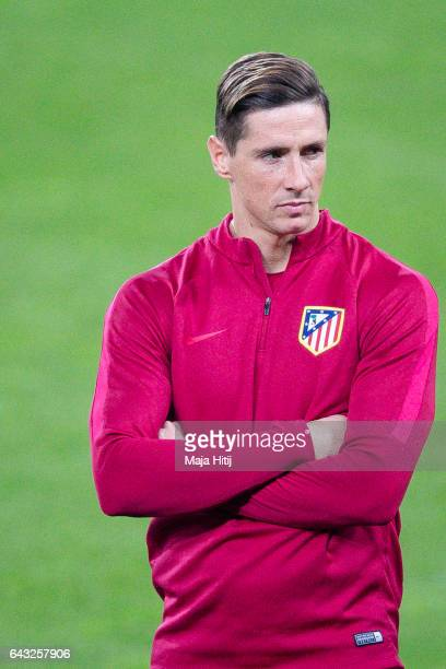 Fernando Torres of Atletico looks on during the training prior the UEFA Champions League Round of 16 first leg match between Bayer Leverkusen and...