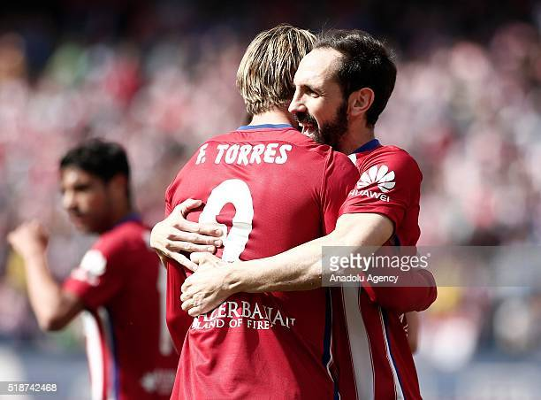Fernando Torres of Atletico Madrid celebrates after scoring a goal during La Liga football match between Atletico Madrid and Real Betis at Vicente...