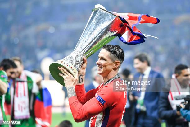 Fernando Torres of Atletico Madrid celebrates during the Europa League Final match between Marseille and Atletico Madrid at Groupama Stadium on May...