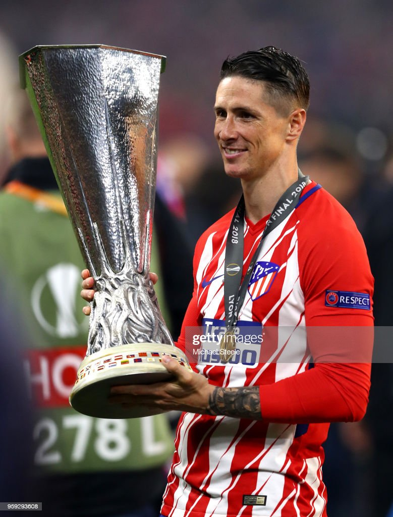 Fernando Torres of Atletico Madrid celebrates with the trophy after winning the UEFA Europa League Final between Olympique de Marseille and Club Atletico de Madrid at Stade de Lyon on May 16, 2018 in Lyon, France.