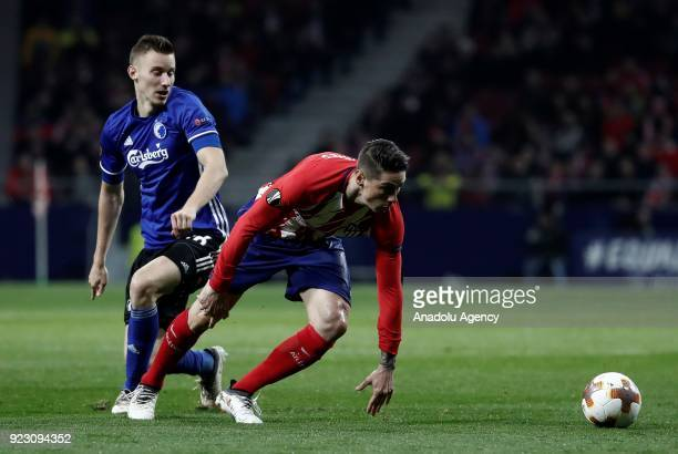 Fernando Torres of Atletico Madrid in action against Jan Gregus of FC Copenhagen during the UEFA Europa League Round of 32 second leg soccer match...