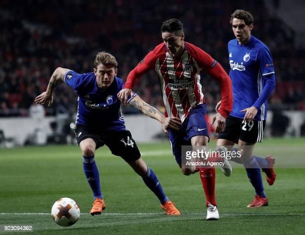 Fernando Torres of Atletico Madrid in action against Nicolaj Thomsen and Robert Skov of FC Copenhagen during the UEFA Europa League Round of 32...