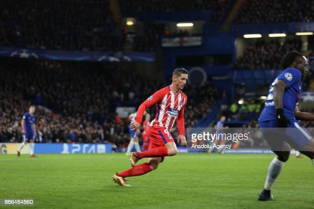 Fernando Torres of Atletico Madrid in action during the UEFA Champions League Group C soccer match between Chelsea FC and Atletico Madrid at Stamford...