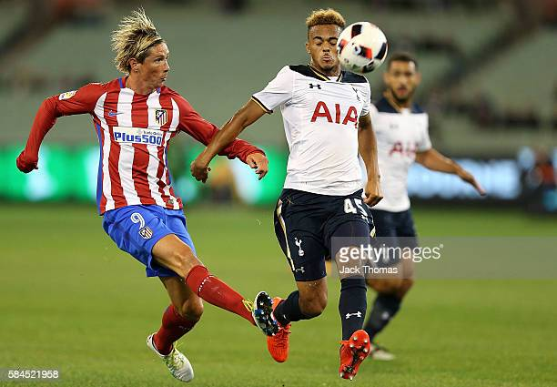 Fernando Torres of Atletico Madrid kicks the ball during 2016 International Champions Cup Australia match between Tottenham Hotspur and Atletico de...