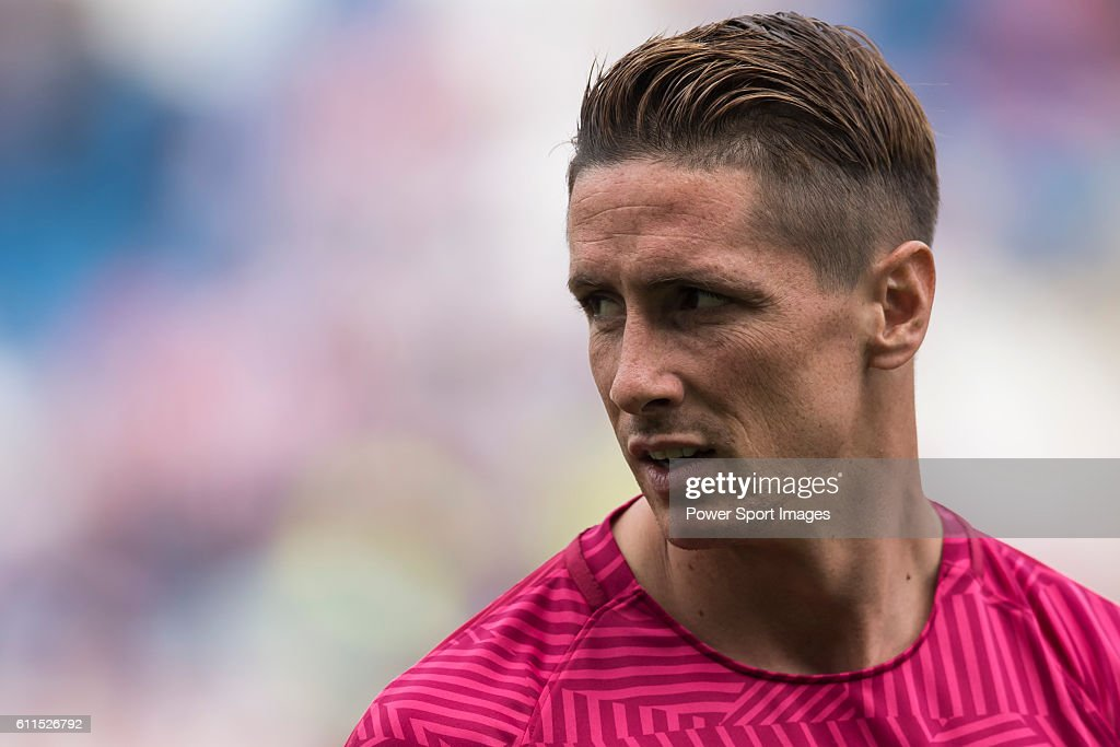 Fernando Torres of Atletico Madrid looks on during the training session prior to their La Liga match between Atletico Madrid and Deportivo de la Coruna at the Vicente Calderon Stadium on 25 September 2016 in Madrid, Spain.