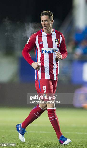 Fernando Torres of Atletico Madrid reacts during the Copa del Rey Quarter Final 2nd Leg match between SD Eibar and Atletico Madrid at Ipurua...