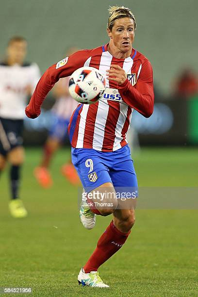 Fernando Torres of Atletico Madrid runs with the ball during 2016 International Champions Cup Australia match between Tottenham Hotspur and Atletico...