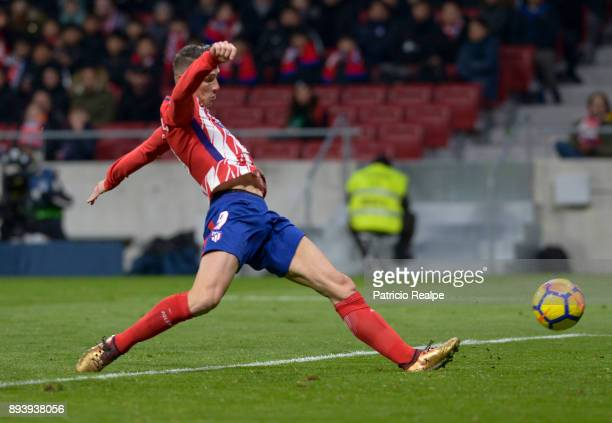 Fernando Torres of Atletico Madrid shoots and scores during a match between Atletico Madrid and Alaves as part of La Liga at Wanda Metropolitano...