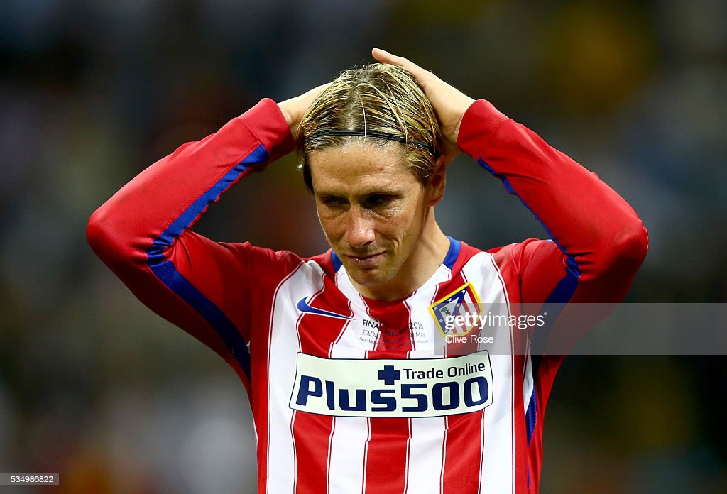 Fernando Torres of Atletico Madrid shows his dejection during the UEFA Champions League Final match between Real Madrid and Club Atletico de Madrid at Stadio Giuseppe Meazza on May 28, 2016 in Milan, Italy.