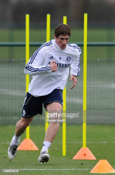 Fernando Torres of Chelsea attends a training session at the Cobham training ground on February 1 2011 in Cobham England