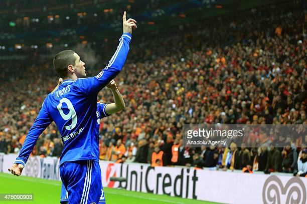 Fernando Torres of Chelsea celebrates after scoring a goal during the UEFA Champions League round of 16 first leg soccer match between Galatasaray...
