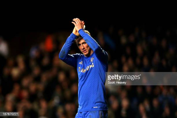 Fernando Torres of Chelsea celebrates after scoring his team's fourth goal during the UEFA Champions League group E match between Chelsea and FC...