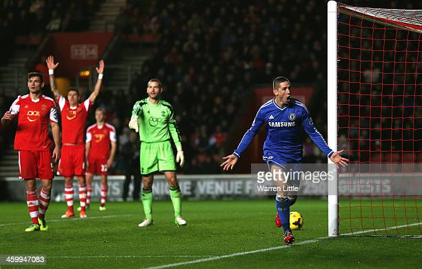 Fernando Torres of Chelsea celebrates after scoring the opening goal during the Barclays Premier League match between Southampton and Chelsea at St...